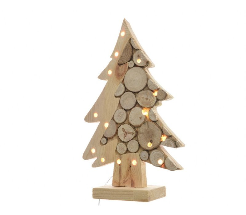 Wooden Tree on stand with birch wood slices & LED's