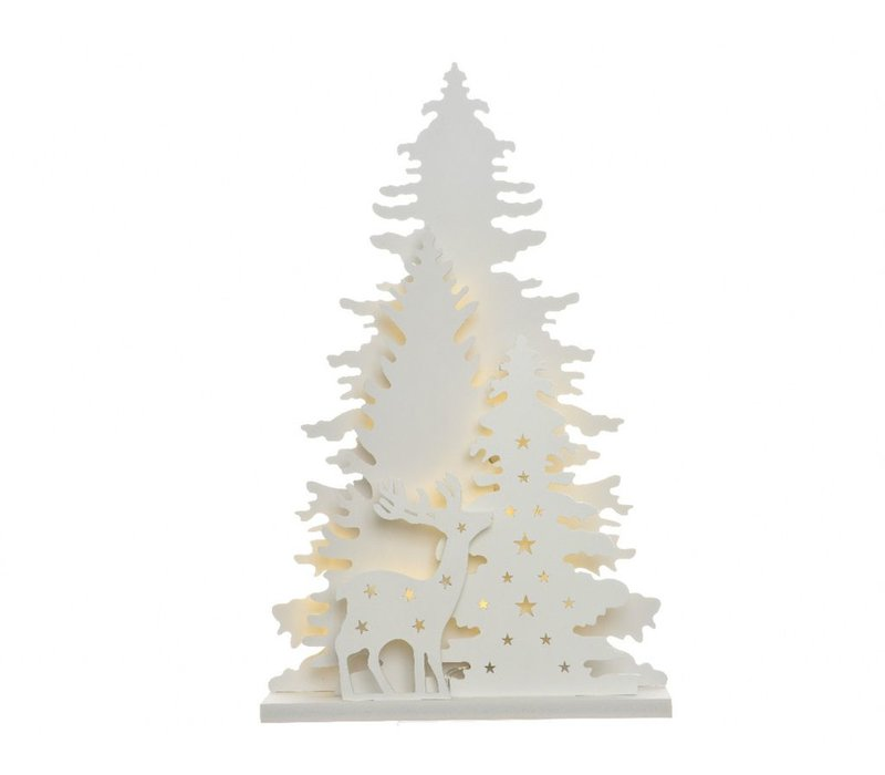 Tree cut-out with winter scenery & LED's - large