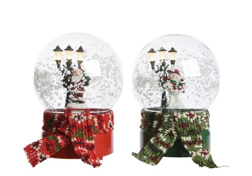 Homestore Musical snow globe in red or green with LED's