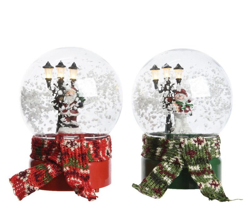 Musical snow globe in red or green with LED's