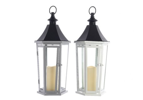 Homestore Metal lantern in white or black with LED candle