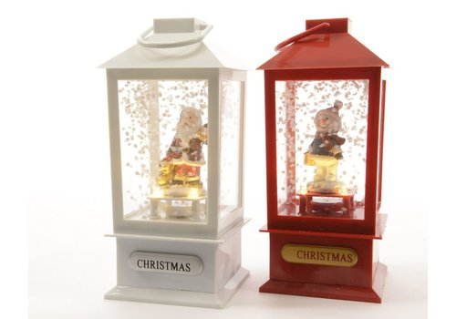 Homestore Lantern in red or white with Santa or snowman with LED's