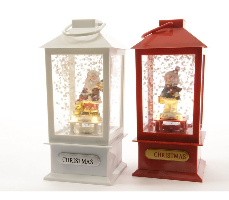 Lantern in red or white with Santa or snowman with LED's