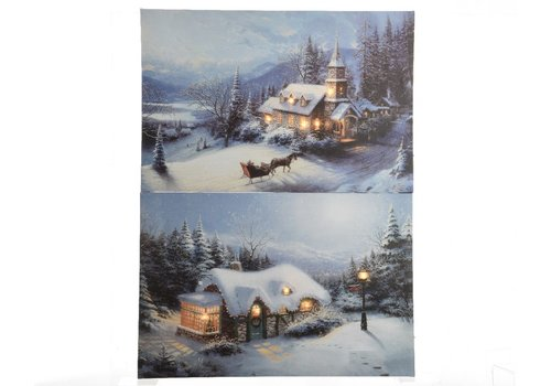 Homestore Canvas painting in Winter Landscape with LED's