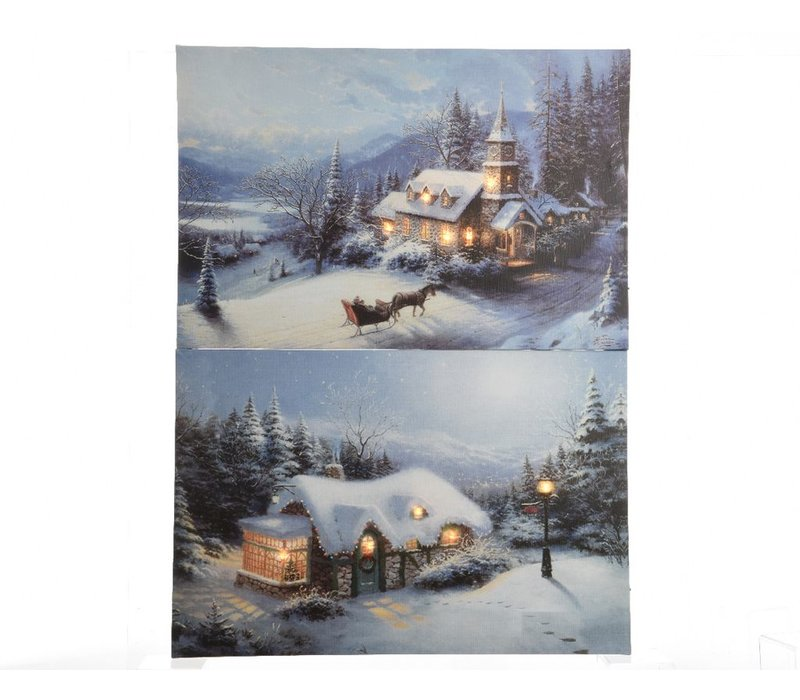 Canvas painting in Winter Landscape with LED's