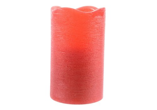 Homestore Rustic wax candle in red with LED's