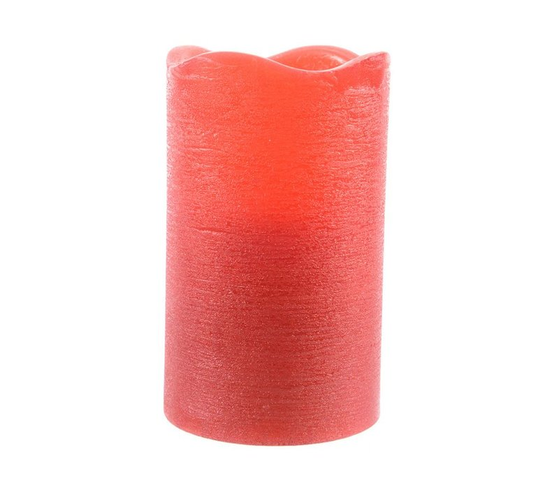 Rustic wax candle in red with LED's