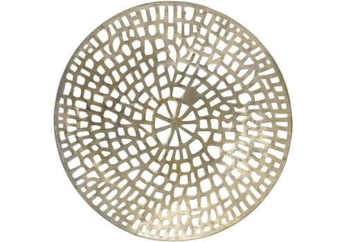 Homestore Gold Coral Cage Round Wall Plaque Textured Aluminium