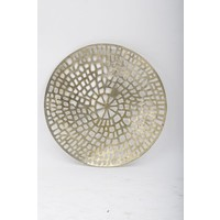 Gold Coral Cage Round Wall Plaque Textured Aluminium