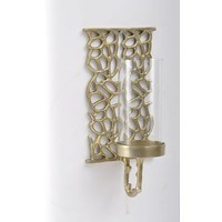 Coral Cage Medium Gold Textured Aluminium & Glass Wall Sconce