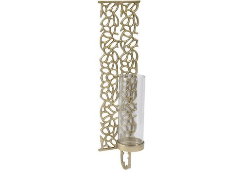 Homestore Coral Cage Large Gold Textured Aluminium & Glass Wall Sconce