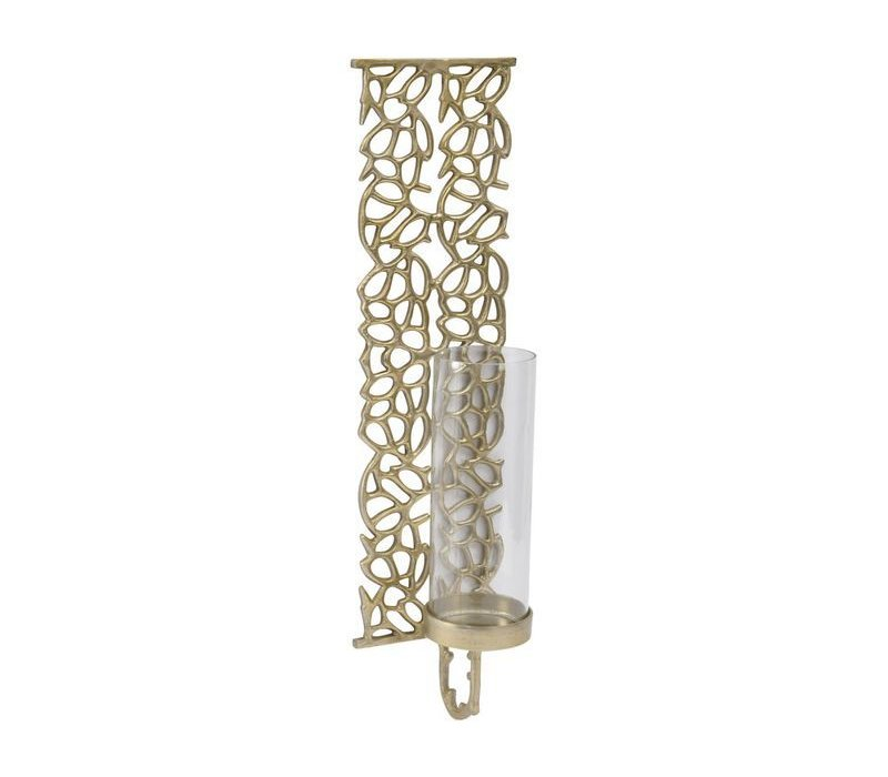 Coral Cage Large Gold Textured Aluminium & Glass Wall Sconce