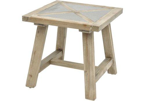 Homestore Refinery Concrete Insert Fir Wood End Table