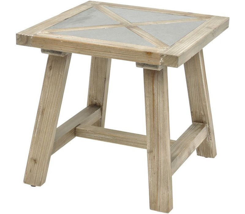 Refinery Concrete Insert Fir Wood End Table