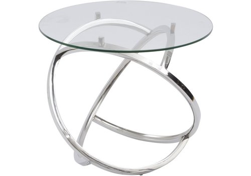 Homestore Curl Silver Side Table With Clear Glass Top