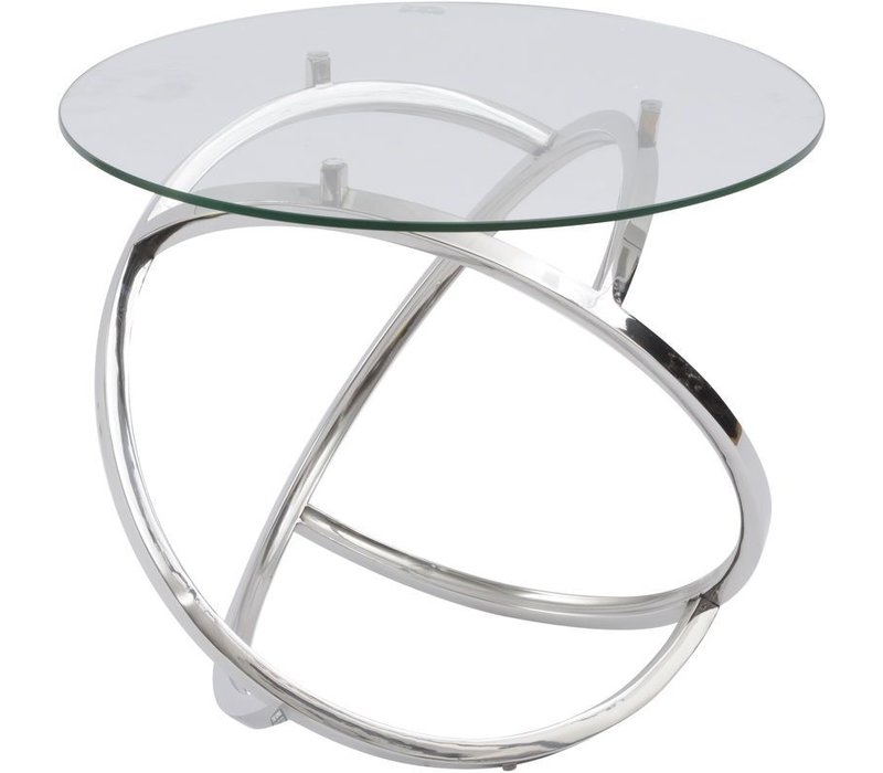 Curl Silver Side Table With Clear Glass Top