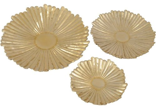Homestore Gold Starburst Set Of 3 Wall Plaques