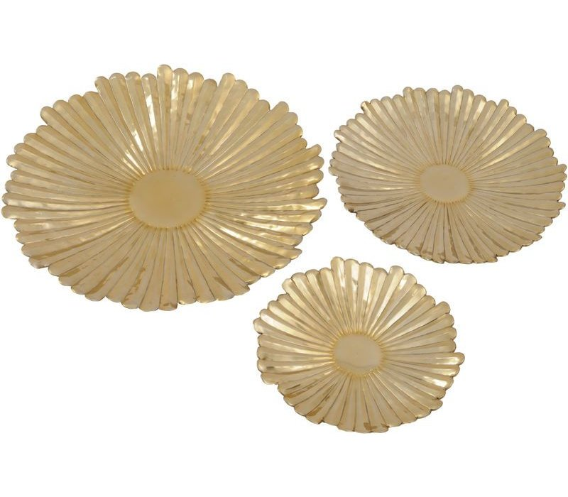 Gold Starburst Set Of 3 Wall Plaques