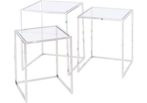 Homestore Linton Stainless Steel And Glass Set Of 3 Nesting Tables