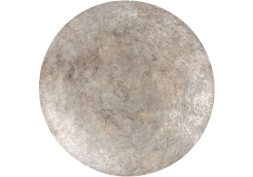 Homestore Burnished Silver Abstract Iron Wall Disc Small