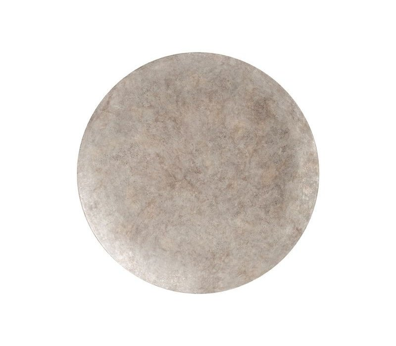 Burnished Silver Abstract Iron Wall Disc Large