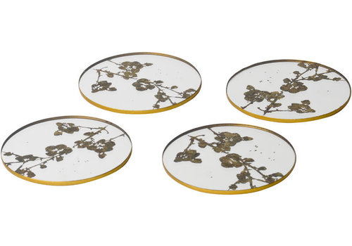 Homestore Vienna Antique Gold Set Of 4 Blossom Coasters