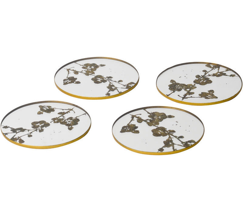 Vienna Antique Gold Set Of 4 Blossom Coasters