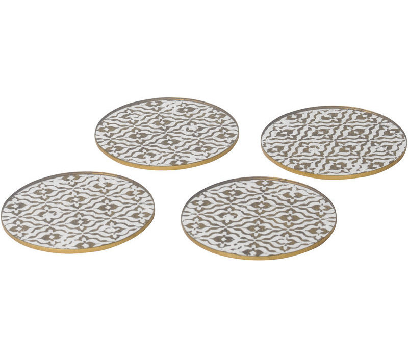 Vienna Antique Gold Set Of 4 Diamond Coasters