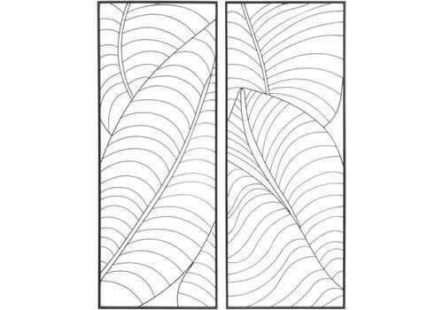 Homestore Black Set Of 2 Rectangular Leaf Wall Art