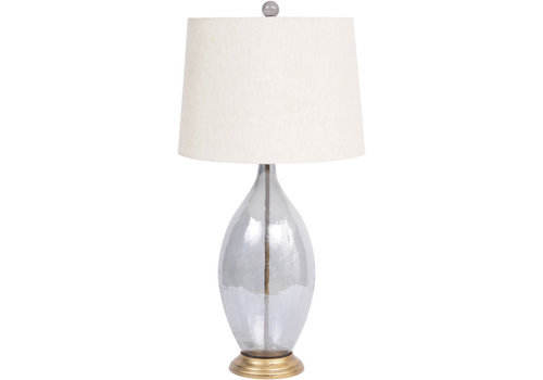 Homestore Smoke Grey Lustre Oval Glass Table Lamp With Natural Shade