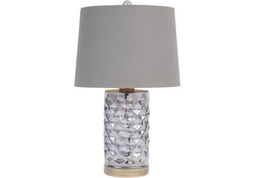 Homestore Smoke Grey Hexagon Table Lamp With Grey Shade E27 60W