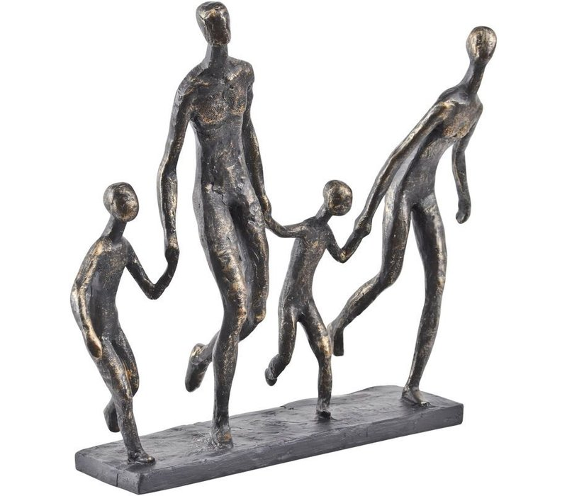 Antique Bronze Family Of Four Holding Hands Sculpture