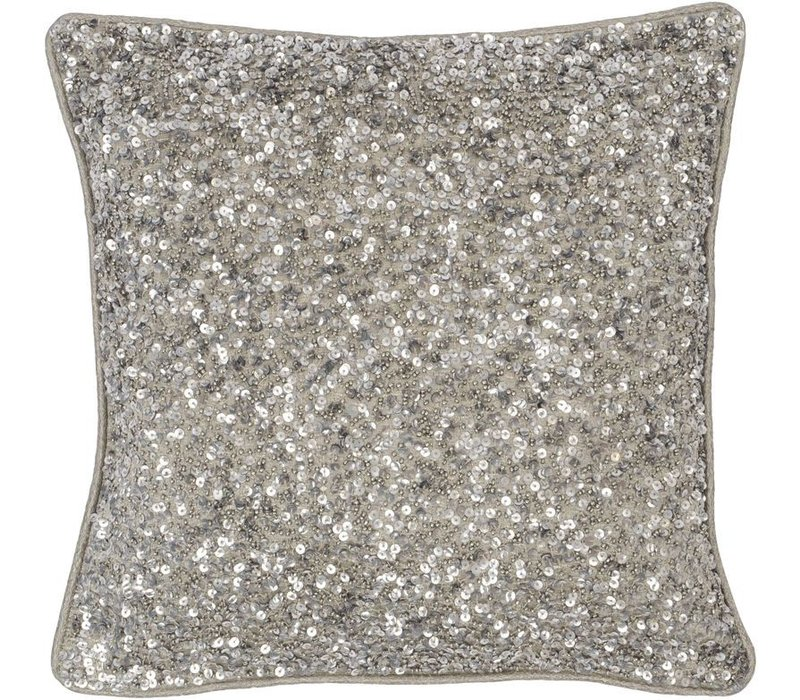 Gatsby Antique Silver Small Square Sequin Cushion 30x30cm