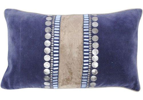 Homestore Halcyon Rectangular Blue Velvet Cushion
