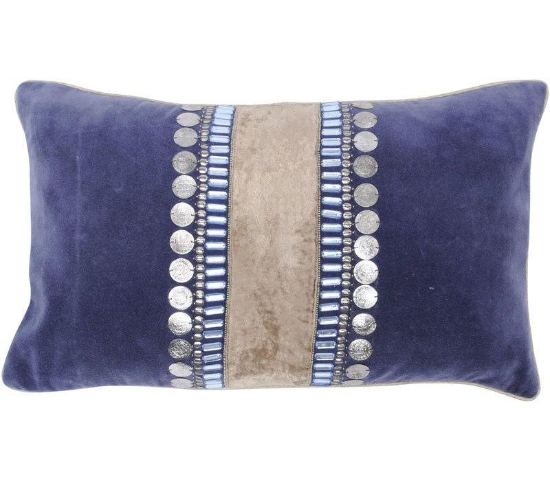 Halcyon Rectangular Blue Velvet Cushion