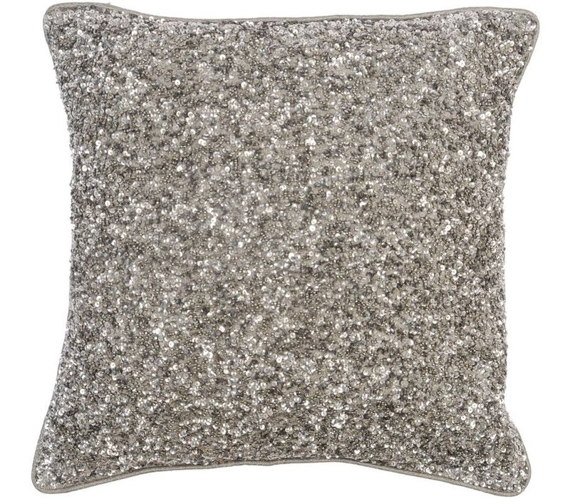 Gatsby Antique Silver Large Square Sequin Cushion