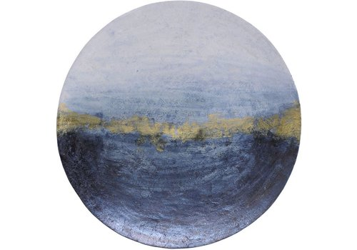 Homestore Blue And Gold Abstract Iron Wall Disc Large
