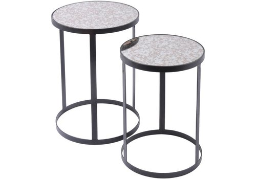 Homestore Set Of 2 Side Tables With Antique Glass