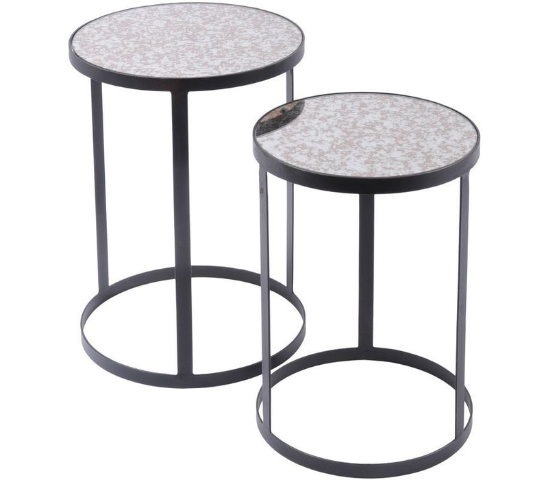 Set Of 2 Side Tables With Antique Glass