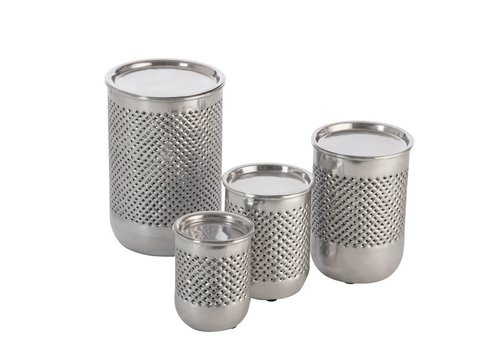 Homestore Set of 4 CANDLEHOLDER CYLINDER in SILVER