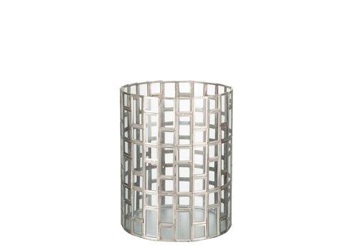 Homestore HURRICANE ROUND GEO SILVER & GLASS