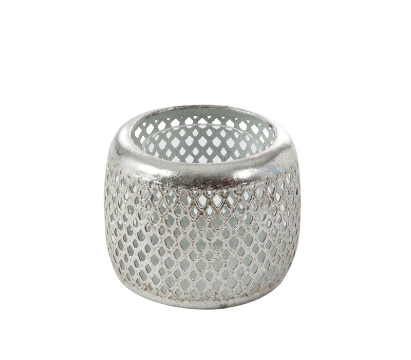 CANDLE HOLDER GRID SILVER