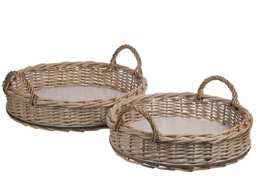 Homestore SET of 2 TRAYS ROUND WILLOW NATURAL