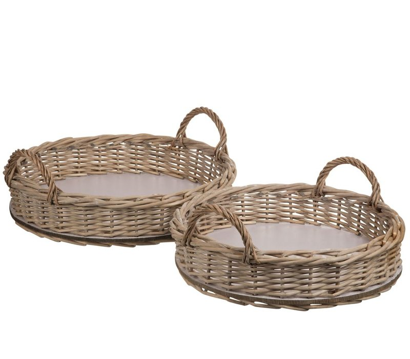 SET of 2 TRAYS ROUND WILLOW NATURAL