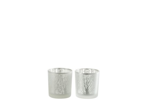 Homestore TEA-LIGHT TREE GLASS WHITE - Small