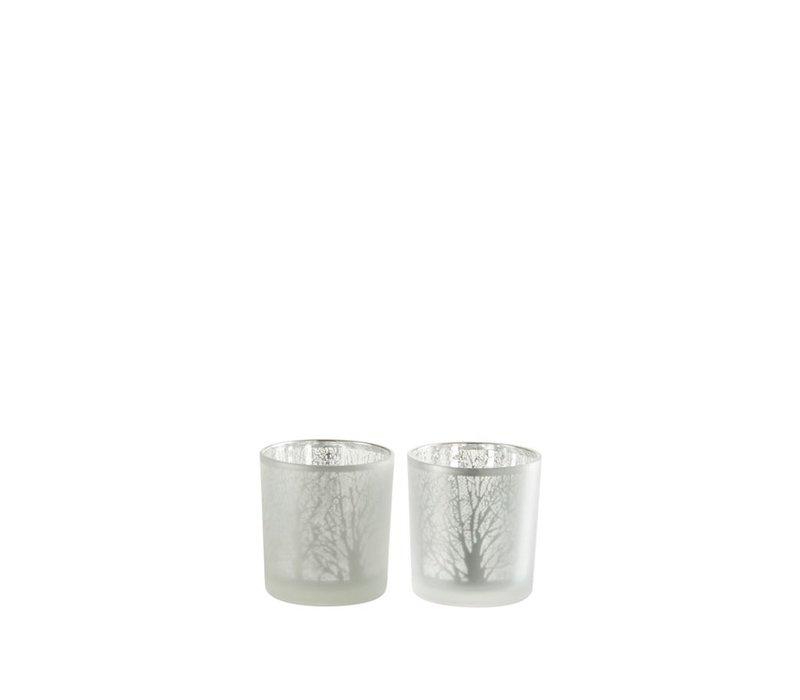 TEA-LIGHT TREE GLASS WHITE - Small