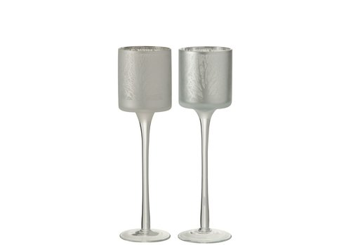 Homestore TEA-LIGHT ON FOOT TREE GLASS WHITE