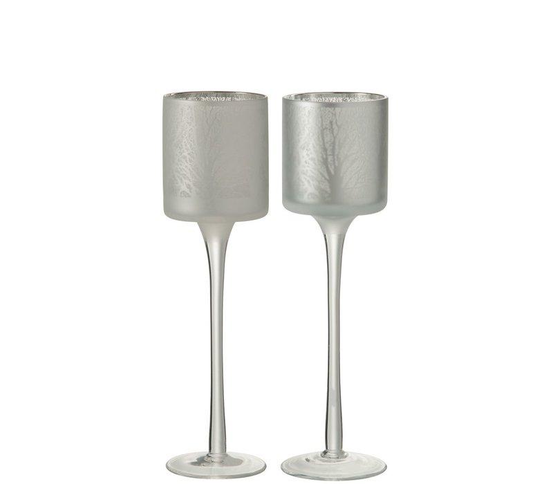 TEA-LIGHT ON FOOT TREE GLASS WHITE