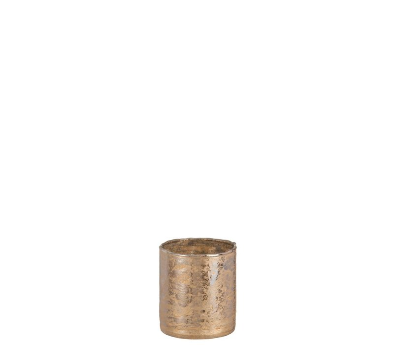 TEA-LIGHT HOLDER ANTIQUE GLASS GOLD