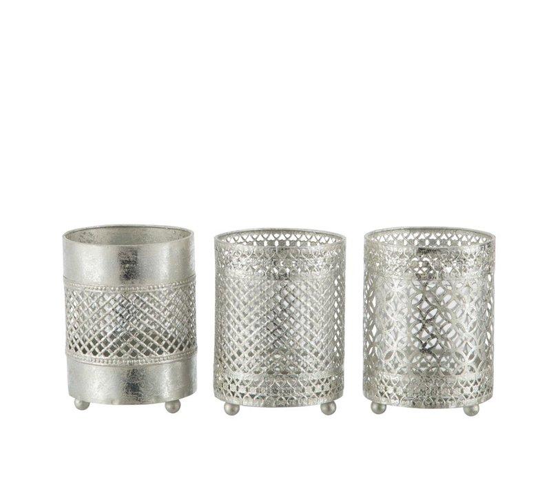 TEA-LIGHT HOLDER ORIENTAL METAL & GLASS